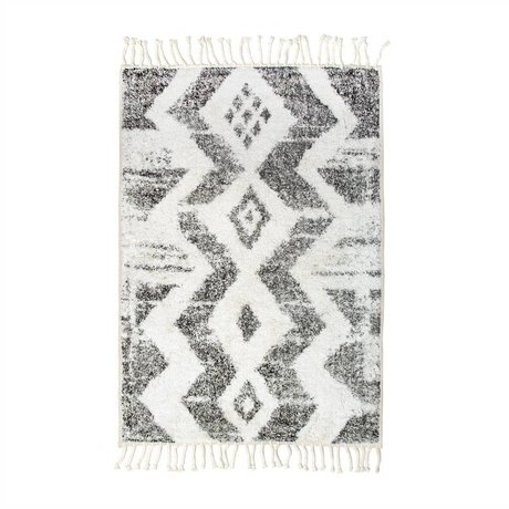 HK-living Zigzag Rug mat off white gray cotton 75x110cm
