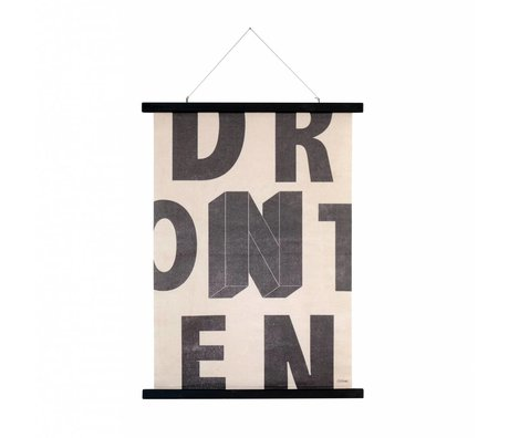 HK-living Schule Buchstaben Platte bedruckter Baumwolle Holz 55x75x2,5cm