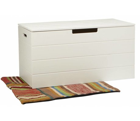 LEF collections Opbergkist 'Keet' wit grenen 42X80X42cm