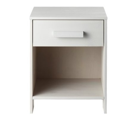 LEF collections Nightstand 'Robin' white brushed pine 40x34x52cm