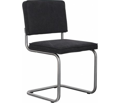 Zuiver Dining chair brushed metal tube frame anthracite gray cotton 48x48x85cm, Chair Ridge brushed vintage charcoal