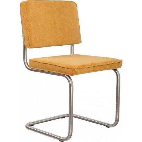 Zuiver chaise de salle à manger brossé châssis tubulaire jaune 48x48x85cm tricot, président Ridge brossé 24A côtes jaunes