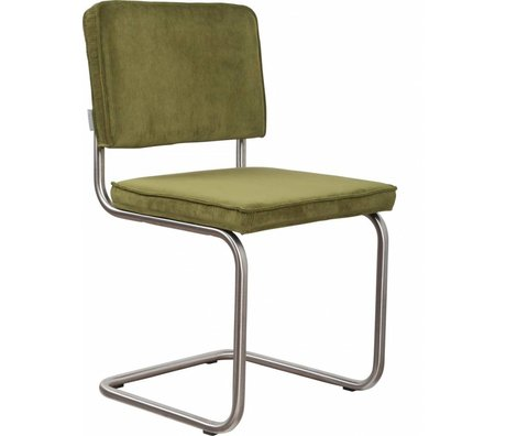 Zuiver Dining chair brushed tube frame green knit 48x48x85cm, Chair Ridge brushed rib green 25A