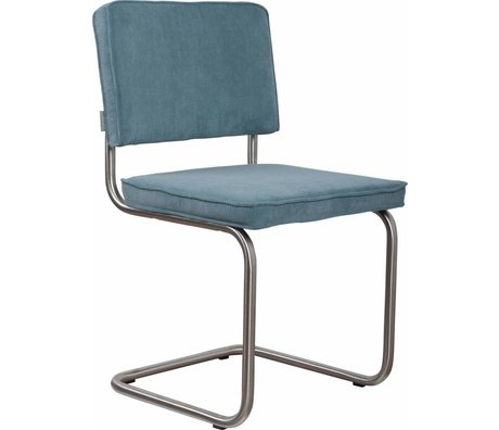 Zuiver Dining chair brushed tubular frame blue knit 48x48x85cm, Chair Ridge brushed blue rib 12A