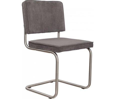 Zuiver chaise de salle à manger brossé tricot gris 48x48x85cm de châssis en tube, président Ridge brossé nervure gris 6A