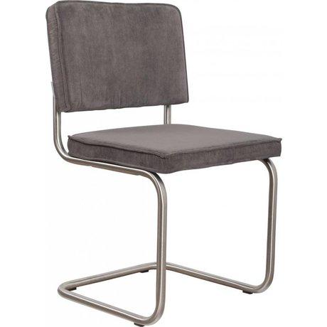 Zuiver Esszimmerstuhl gebürstet grau stricken Rohrrahmen 48x48x85cm gebürstetem Chair Ridge Rippe grau 6A