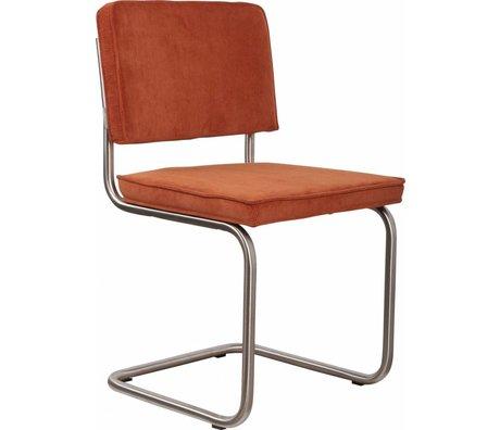 Zuiver Esszimmerstuhl gebürstet Rohrrahmen Orange stricken 48x48x85cm gebürstetem Chair Ridge Rippe Orange 19A