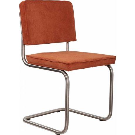 Zuiver chaise de salle à manger brossé châssis tubulaire en tricot orange, 48x48x85cm, président Ridge brossé nervure d'orange 19A