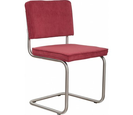 Zuiver Dining chair brushed tubular frame red knit 48x48x85cm, Chair Ridge brushed red rib 21A