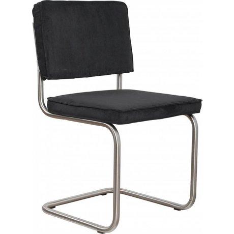 Zuiver Dining chair brushed black knit tube frame 48x48x85cm, Chair Ridge brushed black rib 7A