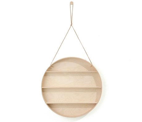 Ferm Living Wall Cabinet The Round Dorm Natural plywood Ø55 cm with leather lace