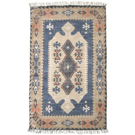 Storebror Rug cabin cotton brown blue 180x120cm