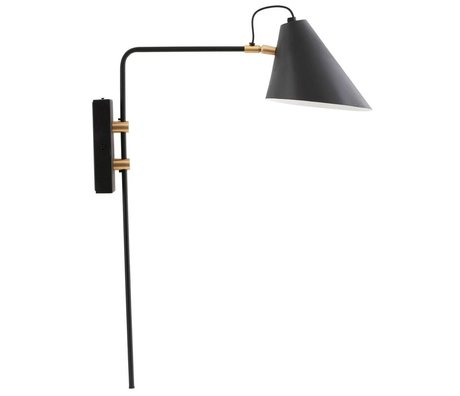 Housedoctor Wall lamp black iron club Ø18-20x54x22cm