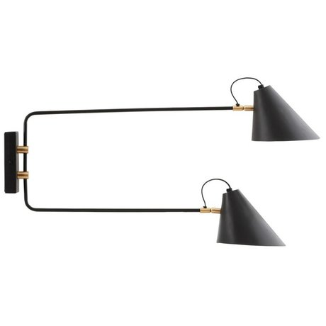 Housedoctor Wall lamp black iron club Ø18-20x28x33-55cm