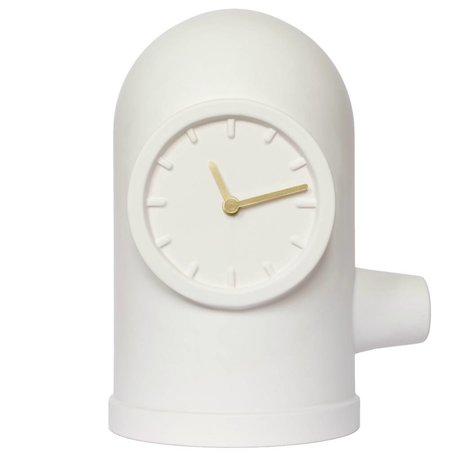 LEFF amsterdam Base clock matte white ceramic gold brass 20x26x33cm