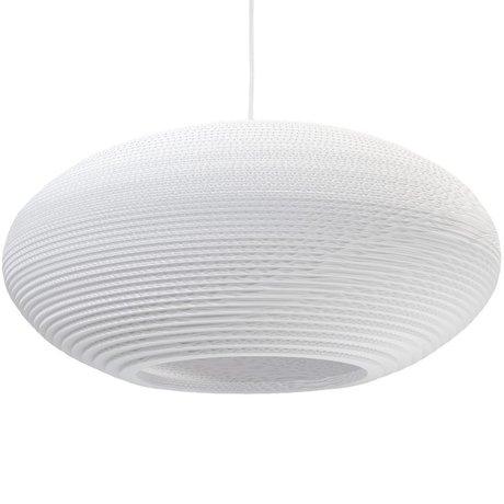 Graypants Pendentif disque lampe suspendue 24 en carton blanc Ø61x26cm