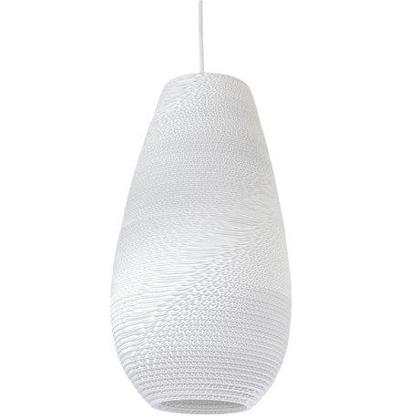 Graypants Tropfen hängende Hängelampe 18 weiße Pappe Ø25x45cm