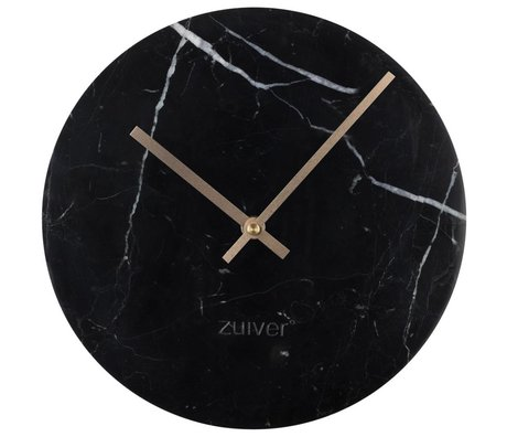 Zuiver Marble clock gold black aluminum marble Ø25x4,5cm