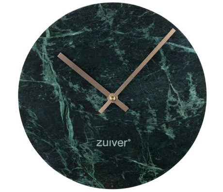Zuiver Marble clock green gold aluminum marble Ø25x4,5cm