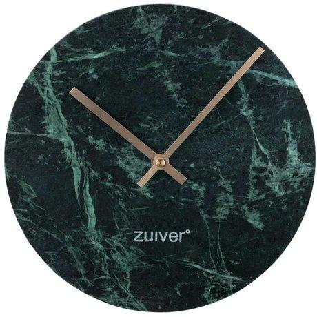 Zuiver Klok Marble groen goud aluminium marmer Ø25x4,5cm
