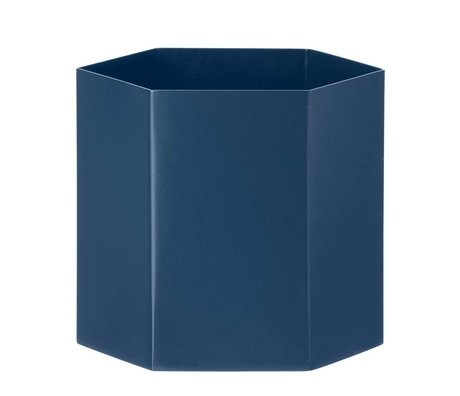 Ferm Living Hexagon Large blue pot Ø13,5x12cm-