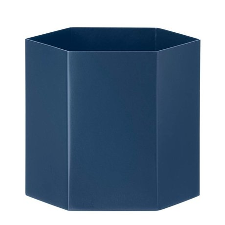 Ferm Living Pot Hexagon blauw Ø13,5x12cm- Large