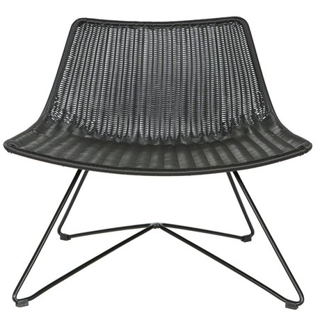 LEF collections Armchair / Garden chair Otis black plastic 77.5x65x69cm