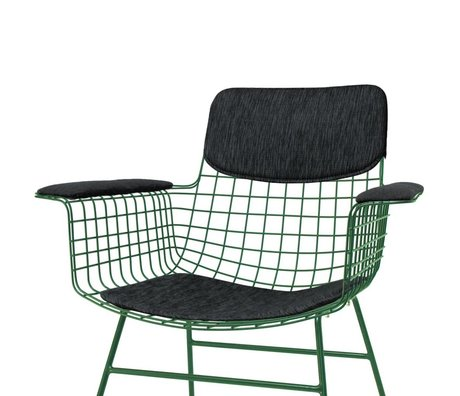 HK-living Comfort Kit for black metal wire chair with armrests