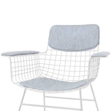 HK-living Comfort Kit grau Metalldraht Stuhl mit Armlehnen