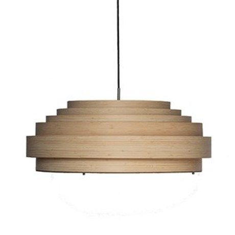 Ay Illuminate Thin large pendant light natural brown bamboo Ø70x25cm