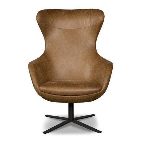 I-Sofa Fauteuil Elvi brun cognac 84x78x110cm en cuir