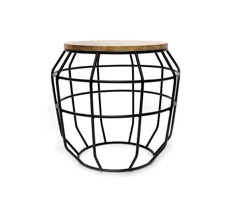 LEF collections Pixel coffee table black metal timber 51x51x46cm