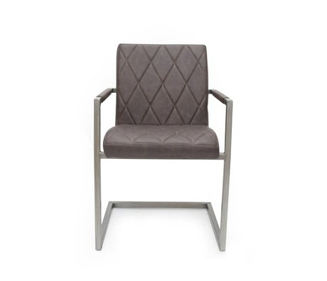 LEF collections Dining Chair Oslo anthracite gray PU leather 53x55x85cm