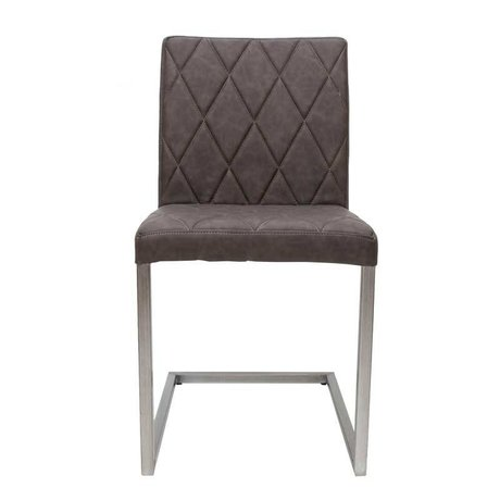 LEF collections Dining chair Stockholm anthracite gray PU leather 45x45x90cm