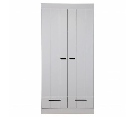 LEF collections 2 door wardrobe Connect strips door with drawers concrete gray pine 195X94X53cm