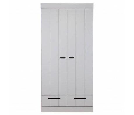 LEF collections Kledingkast Connect 2 deurs strokendeur met lades beton grijs grenen 94x53x195cm