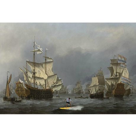 Arty Shock Painting Willem van de Velde Battleship L multicolor plexiglass 100x150cm