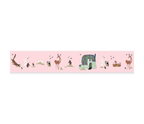 KEK Amsterdam Behangrand Fiep Westendorp Forest Animals roze 16x500cm
