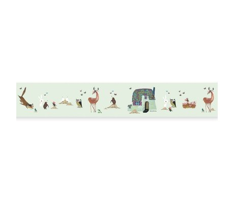 KEK Amsterdam Behangrand Fiep Westendorp Forest Animals groen 16x500cm