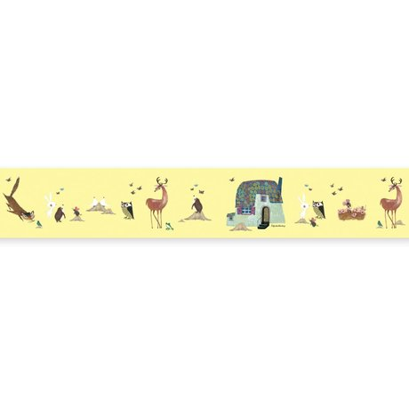 KEK Amsterdam Behangrand Fiep Westendorp Forest Animals geel 16x500cm