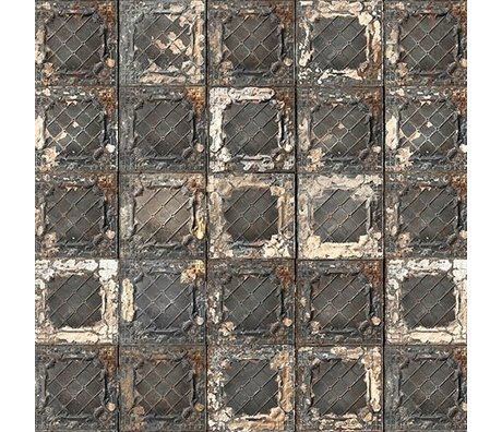 NLXL-Merci Papier peint à carreaux Brooklyn Tins noir / blanc / rouille Tin-07