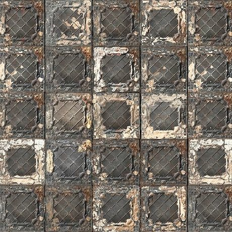 NLXL-Merci Tile wallpaper Brooklyn Tins black / white / rust Tin-07