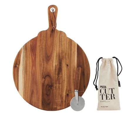 Nicolas Vahe Cutting board with pizza cutter brown wood 46x34x1,5cm