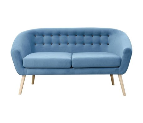 I-Sofa Vera banc textile bleu bois 148x67x76cm