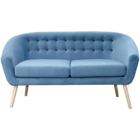 I-Sofa Vera bench blue textile wood 148x67x76cm