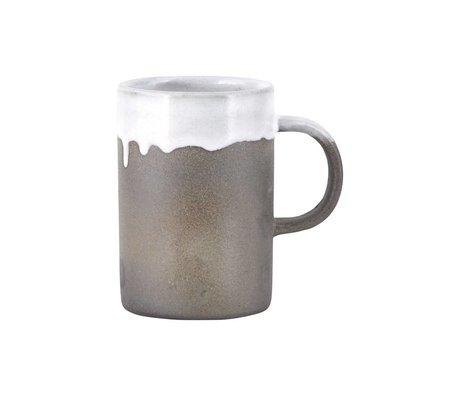 Housedoctor Mug Running Glaze gray white terracotta ø7x10,5cm