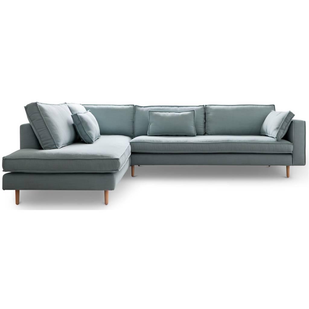 Hoekbank Blauw Grijs.I Sofa Hoekbank Links Sara Licht Blauw Textiel Hout 290x219x65cm