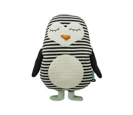 OYOY Cuddly Pinguin Pingo weißer Baumwolle 31x41cm