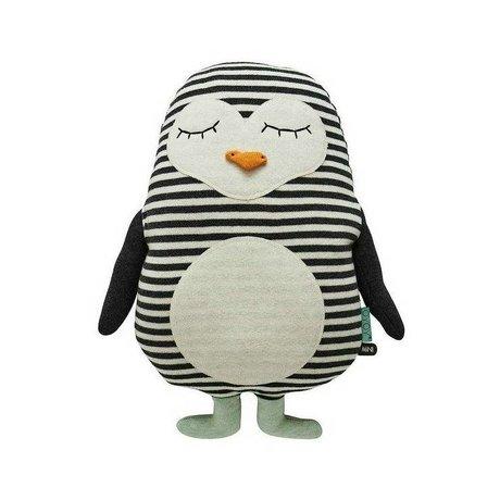 OYOY Knuffel pinguïn Pingo wit zwart katoen 31x41cm