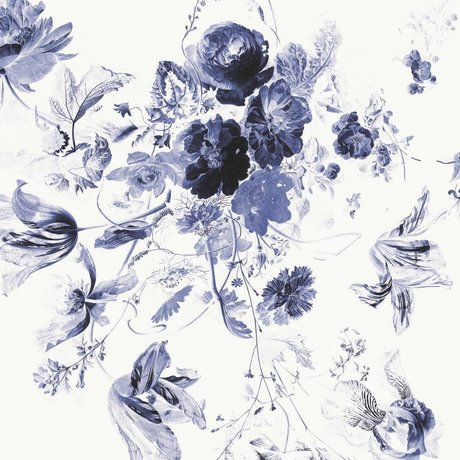 KEK Amsterdam Wallpaper Royal Blue Flowers III multicolor non-woven paper 389.6x280cm